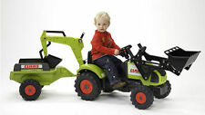 Falk Traktor Trettraktor Claas mit Anhänger Schaufel und Heckbagger 260240 NEU