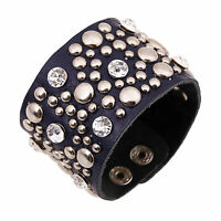 2015Fashion Metal Stud Rivet Punk Genuine Leather Bracelet Bangle Cuff Wristband