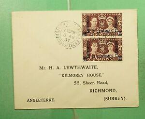 DR WHO 1937 BRITISH MOROCCO OVPT PAIR KGVI CORONATION TO ENGLAND  g15320