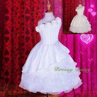 Box Pleated Lace Tiered Flower Girl Formal Dress Wedding Communion Sz 2-9 #260