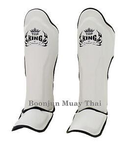 Top King Muay Thai Shin Pads TKSGP GL Shin Guards Pro Genuine Leather White Blac