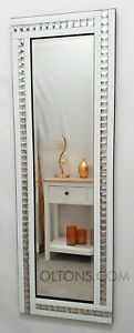 Full Length ArtDeco Acrylic Crystal Glass Design Bevelled Mirror 120x40cm White