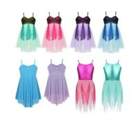 Girls Lyrical Ballet Modern Dance Dress Ballroom Leotard Mesh Straps Dancewear