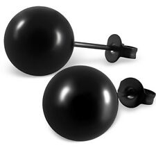 10mm Black Stainless Steel Sphere Ball Stud Earrings Studs 10x10mm