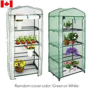 Green/White Portable Shelves Walk Indoor Outdoor 4 Tier Green House LIVINGbasic™
