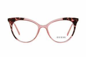 GUESS GU3031 077 Crystal Pink Big Cat Eye Plastic Eyeglasses Frame 52-17-135 RX