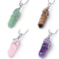 Amethyst Quartz Gemstone Hexagon Healing Point Chakra Pendant Beads For Necklace
