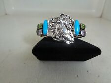 Horse Turquoise Bracelet With Nice Gem Stones .925 Sterling By Running Bear RB