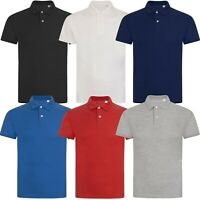 New Mens Polo Shirt Short Sleeve 100% Plain Pique Top Regular Fit T Shirt S-XXL