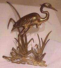 VINTAGE MID CENTURY MODERN SOLID BRASS LARGE CRANE BIRD NAUTICAL DECOR WALL ART