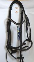 Harry´s Horse Trense Montreux, schwarz, mit Gurtzügeln, Full, Strasssteinchen,