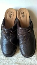 Clarks Bendable Clogs Leather Slip-On Shoes Brown Women's sz. 10W