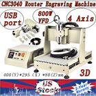 USB 800W 4 Axis CNC 3040 3D Engraving Milling Machine Router Desktop Machine VFD