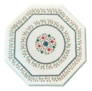 """18"""" White Marble Coffee Top Table Mosaic Floral Inlay Handmade Home Decors W575"""