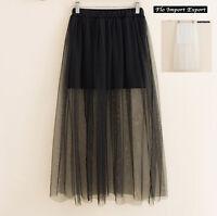 Mini Gonna Donna Tulle Lungo Trasparente in Tinta Unita Woman Tulle Skirt 130036