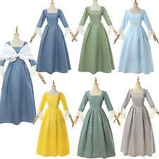 Women Pioneer Colonial Costume Dress Prairie Peasant Lace Long Dress Shawl