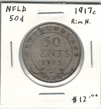 Canada NFLD 1917c Silver 50 Cents Rim Nick