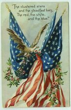 Patriotic US Flag American Eagle Antique Raphael Tuck Postcard Germany Embossed