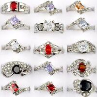 Großhandel 10 Damen Zirkon Ring Edelstein Gemischt Strass Kristall Ringe Silber