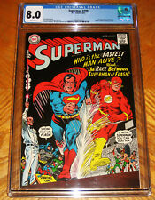 SUPERMAN #199 VF CGC 8.0 WP 1st SUPERMAN/FLASH RACE, JUSTICE LEAGUE APPEARANCE