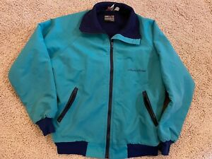 Lg Vintage Teal Alaska Air Airlines Employee Uniform Work Jacket Coat Logo Promo