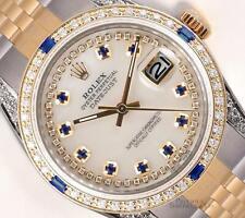 Rolex Datejust 36mm TT-White MOP Sapphire String Dial-Diamond Bezel-Diamond Lugs