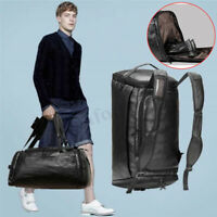 Men Leather Sports Gym Travel Fitness Bag With Shoe Storage Luggage Duffle Tote