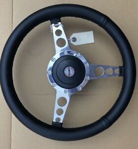 """Triumph TR7 Spitfire Traditional Polished Alloy Spoke Leather 14"""" Steering Wheel"""