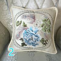 2pcs Throw Sofa Pillow Case Cover Embroidery Floral Retro Cushion Home Decor New