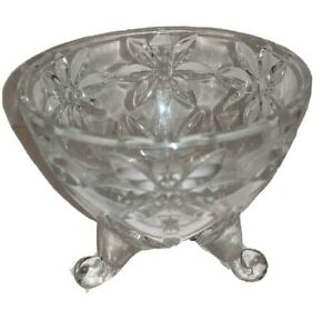 """Glass Trinket Dish Footed 3.5"""" Clear Flowers Dressing Table Counter Decoration"""