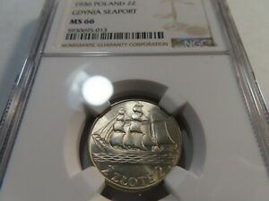 T11 Poland 1936 2 Zlote Gdynia Seaport NGC MS-66