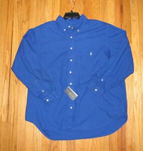 Ralph Lauren Mens LS Solid Blue Heavy Wt Cotton Shirt XLT NWT