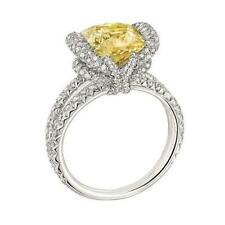 6Ct Cushion Cut Rich Canary Yellow Simulant Diamond Ring Carved Silver Gold Fnsh
