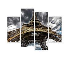 PARIS EIFFEL TOWER SKY PRINTS FRAMED CANVAS WALL ART PICTURES 4 PANEL CITY ART