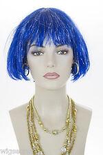 Dark Blue / Tinsel Fun Color Short Straight Costume Fun Color Wigs