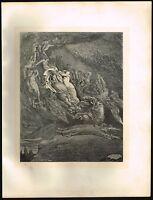 1860s Big Antique Vintage Francesca Nude Body Gustave Dore Art Engraving Print