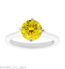 PLATINUM FANCY ENHANCED YELLOW DIAMOND SOLITAIRE ENGAGEMENT RING 1.01 CARAT
