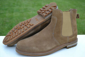 Clarks Mens Welted Chelsea Boots FOXWELL TOP Dark Sand Suede UK 8.5 / 42.5