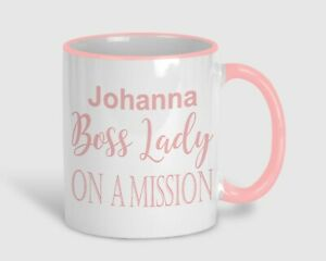 Boss Lady On A Mission Personalised Mug Gift Work Feminist Girl Boss Pink