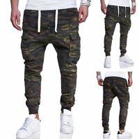 Men Camouflage Camo Cargo Army Pants Harem Joggers Sport Sweatpants Trousers New