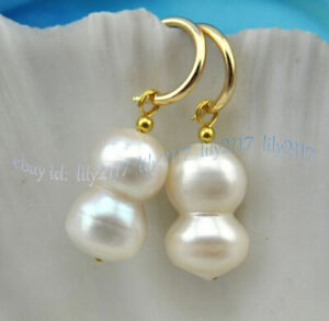 13-22mm Real Natural White Baroque Double Freshwater Pearl Dangle Gold Earrings