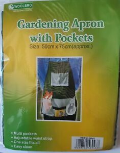 WOOLBRO Gardening  Apron with  multi pockets adjustable waist strap easy clean