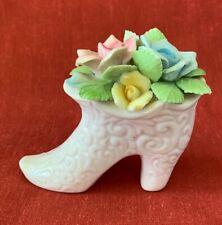 Vintage Porcelain High Heeled Shoe, Bone China w Ornate Bouquet, Norcrest, Japan