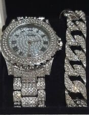 Men Hip Hop Iced Out Bling Simulated Lab CZ Luxury Gold Silver Watch &  Bracelet