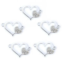 10Pcs Silver Plated Heart&Crystal Connector Charm DIY Bracelet Making Accessory