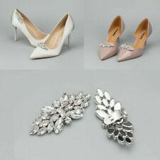 Women Crystal Charm Shoe Clips Rhinestone Wedding Bridal Buckle Silver 1 Pair UK