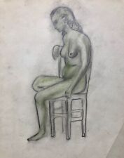 1920s French Colored Pencil drawing on paper