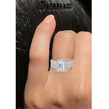 Sparkling Square Zircon Ring Cubic Zirconia 925 Filled Sterling Silver Women