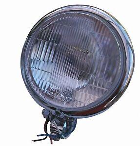 "Bates style custom headlamp 5 ¾"" bottom mount, chrome, H4 halogen, fast despatch"