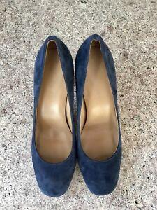 Talbots Blue Suede 3.5 inch Heels Pump Slip-on Shoes Sz 8 M